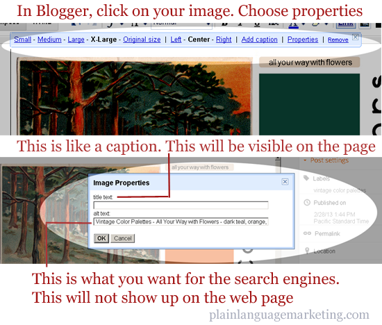 how to put in alt text for an image in blogger