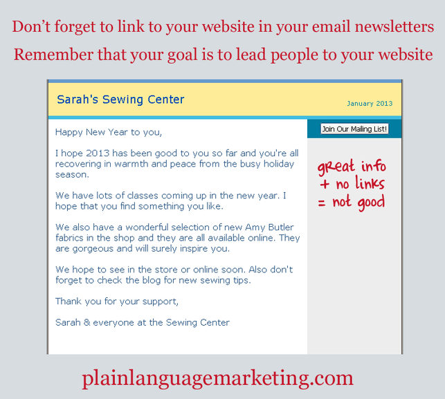The most important thing to remember in your email newsletters - Plain Language Marketing - Online Marketiong Help for Small Businesses